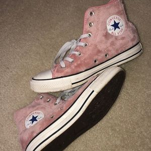 Pink furry converse